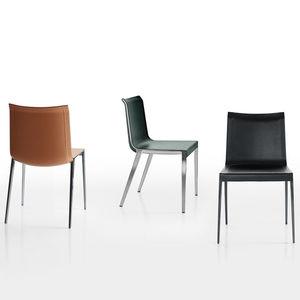 chaise contemporaine / en cuir / en aluminium / marron