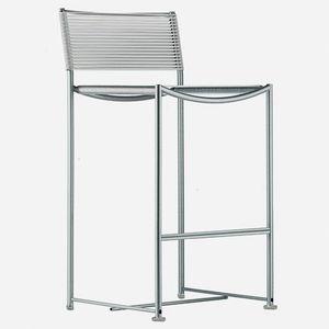 chaise de bar contemporaine / avec repose-pieds / recyclable / en acier inoxydable brossé