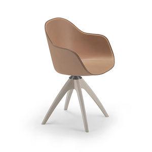 chaise contemporaine / tapissée / avec accoudoirs / piètement étoile