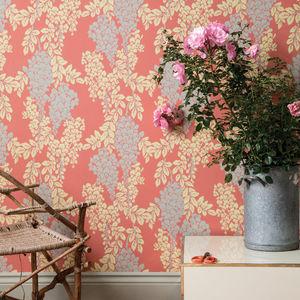 papier peint classique / en soie / à motif floral / couleur