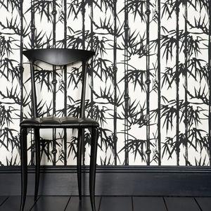 papier peint contemporain / à motif nature / aspect tissu / gris