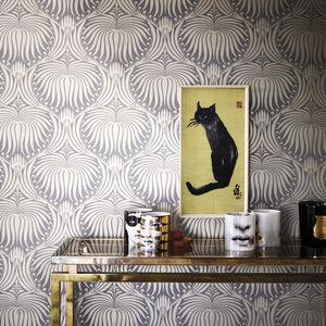 papier peint contemporain / damas / effet métallisé / marron