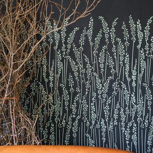 papier peint contemporain / à motif floral / gris / bleu