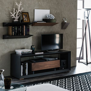 meuble TV contemporain / lowboard / en noyer