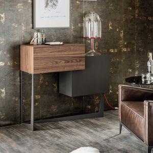 meuble bar contemporain / en noyer / en bois peint / en verre