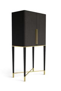 meuble bar contemporain / en laiton / en frêne / avec éclairage intégré