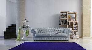 canapé de style chesterfield / en cuir / 2 places / gris