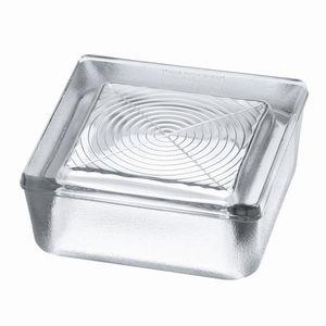 brique de verre demi-coque / carrée / à relief / pour plancher