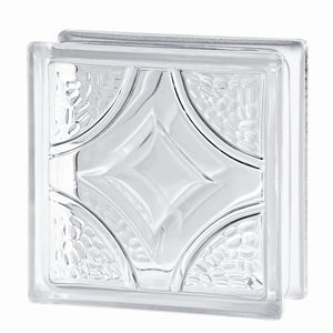brique de verre carrée / à relief / murale / à haute transmission de lumière