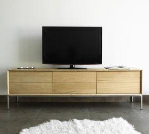 meuble de télévision contemporain / lowboard / en acier / en plaqué bois