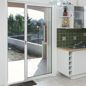 système à galandage pour porte coulissante en verre
