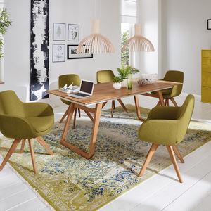 table à manger contemporaine / en chêne / en acier / rectangulaire