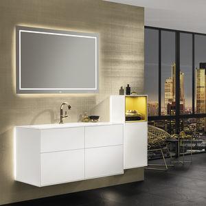 meuble vasque mural / en bois laqué / contemporain / avec tiroirs