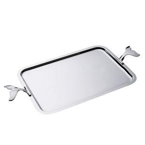 plateau de service en métal argenté / à usage domestique