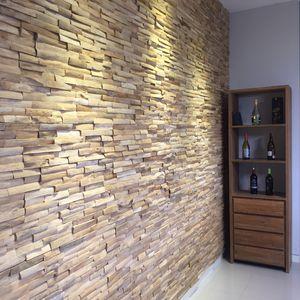 lambris mural / en teck / en bois massif / texturé