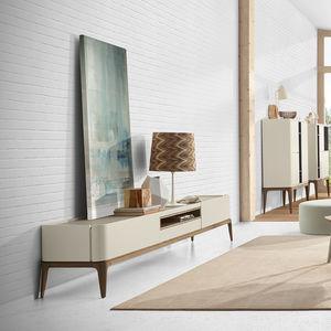 meuble TV contemporain / pour chambre d'hôtel / en bois