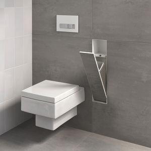 poubelle de salle de bain / encastrable / murale / en acier inoxydable brossé