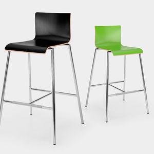 chaise de bar contemporaine / avec repose-pieds / en acier / en bois