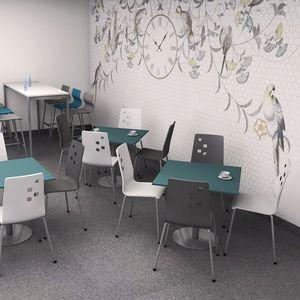 chaise de restaurant contemporaine / tapissée / avec accoudoirs / empilable