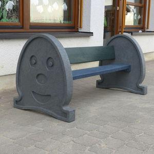 banc de jardin / design original / en plastique recyclé / avec dossier