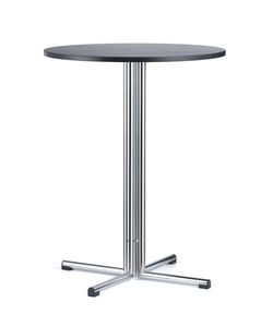 table bistrot contemporaine / en hêtre / en métal chromé / ronde