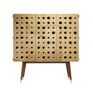 meuble bar pour chambre d'hôtel / contemporain / en noyer / en laiton