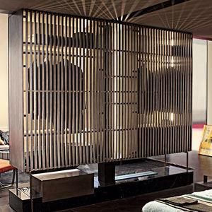 armoire contemporaine / en frêne / en verre / en métal