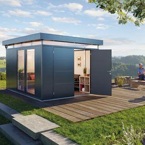abri de jardin en acier galvanisé / en aluminium / contemporain / résidentiel