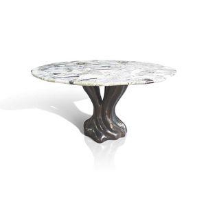 table à manger design organique / en noyer / en bronze / en marbre