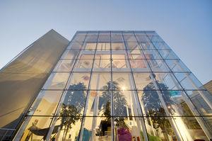 mur-rideau en vitrage agrafé / en verre / en acier / transparent