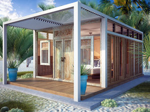 maison type bungalow / contemporaine / en acier / avec terrasse