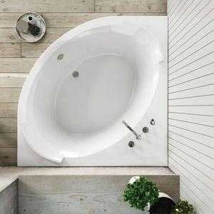 baignoire d'angle / carrée / en composite / profonde