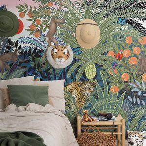 papier peint contemporain / en textile non-tissé / à motif nature / à motif animalier