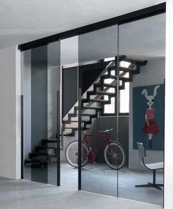 porte d'intérieure / coulissante / avec verre de sécurité / en aluminium