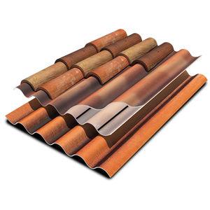 couverture en plaques en fibro-ciment / en PVA / ondulée / colorée