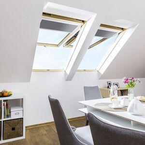 fenêtre de toit à projection / à pivot / en PVC / à double vitrage