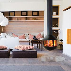 cheminée à bois / à gaz / contemporaine / à foyer fermé