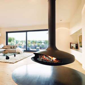 cheminée à bois / à gaz / contemporaine / à foyer ouvert