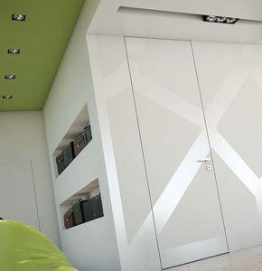 porte d'intérieure / battante / en bois / toute hauteur