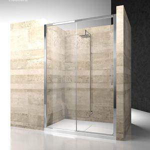 cabine de douche en verre / en niche / avec porte coulissante / résidentielle