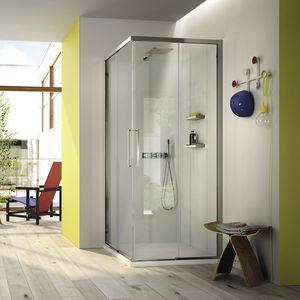 cabine de douche en verre / d'angle / avec porte coulissante