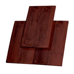 tuile plate / en terre cuite / rouge / marron