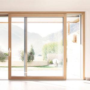 baie vitrée levante-coulissante / en aluminium / en bois / à double vitrage