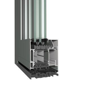 profilé pour porte en aluminium / à coupure thermique / acoustique / résistant au vent