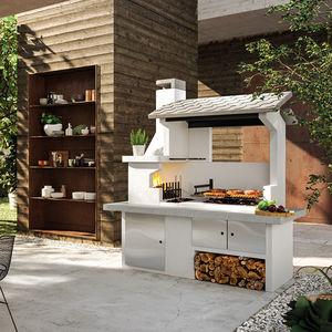 barbecue à charbon / à bois / fixe / en béton