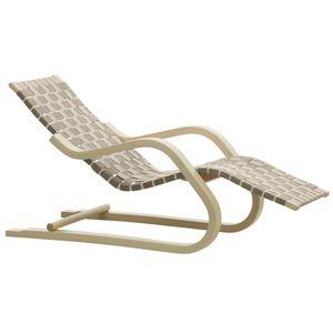 chaise longue contemporaine / en lin / en bois courbé / en bouleau