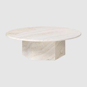 table basse classique / en travertin / avec piètement en travertin / ronde
