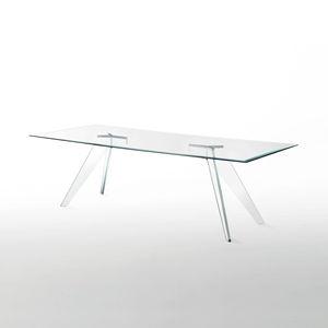 table à manger contemporaine / en verre / rectangulaire / ronde