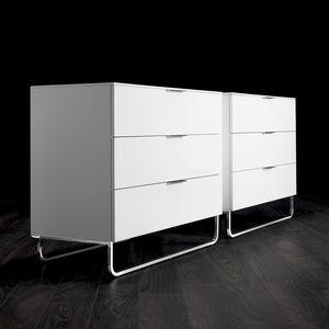 commode contemporaine / en bois laqué / en métal / par Éric Jourdan