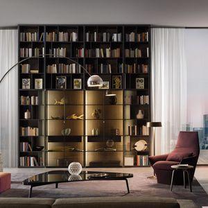 bibliothèque murale / haute / contemporaine / en bois laqué